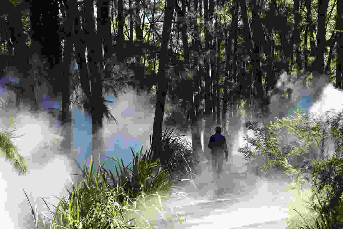 Fujiko Nakaya's fog sculpture generates  a fine mist over the marsh pond and surrounding plantings.