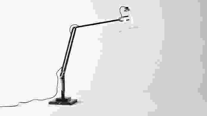 Wilson's reprise of the 1930s Anglepoise lamp improves it with a clear LED bulb and glass shade.