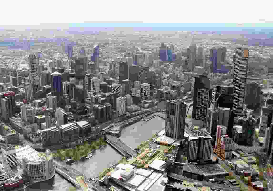 A 2013 photograph of Melbourne. The interim planning laws place restrictions on the height and floor space ratio of new developments.
