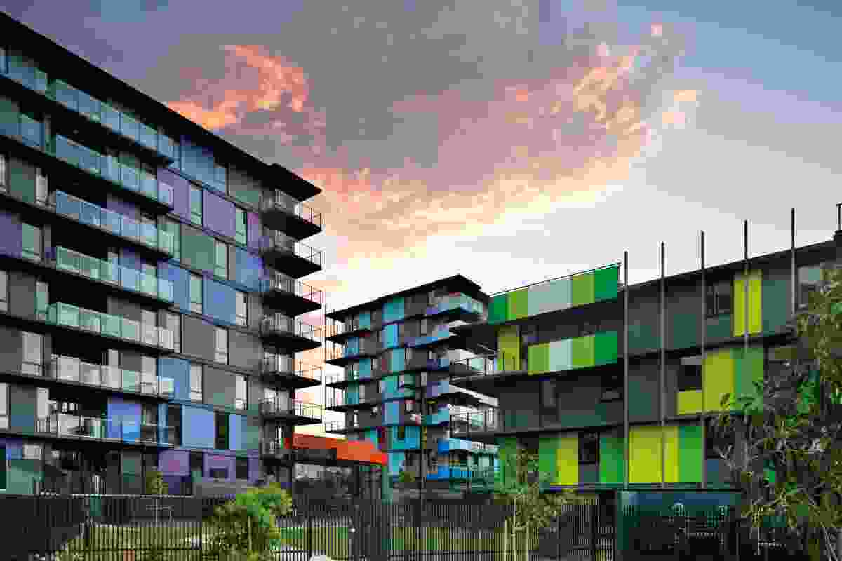 "Impactful, ""high- chroma colours"" on the housing block exteriors reference the coastal landscape's gradation of hues."