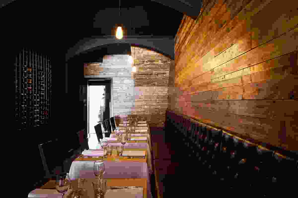 Recycled timber walls and floors make a warm backdrop at Cervo.