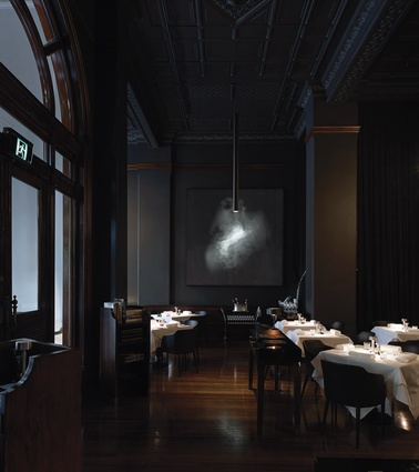 Earl Carter's photograph of wafting smoke sets the tone for the entire restaurant.