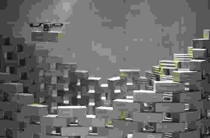 Gramazio & Kohler and Raffaello D`Andrea in cooperation with ETH Zurich has developed Flight Assembled Architecture, where flying robots assemble a scale model in brick using open-source software.