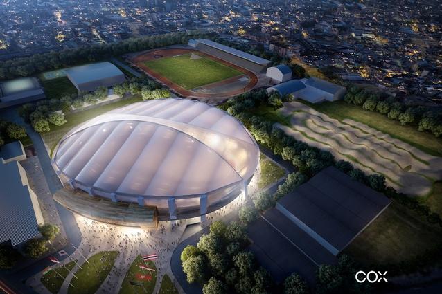 Jakarta International Stadium Image: Cox Architecture Designs $51m Jakarta Velodrome