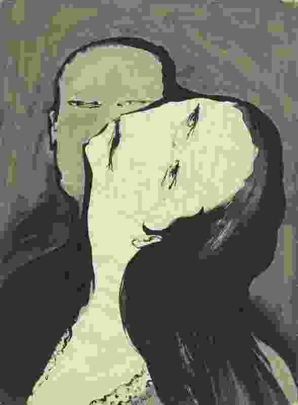 Joy Hester, Lovers [II] 1956, brush and ink and watercolour on paper, 75.3 x 55.5 cm, National Gallery of Australia, Purchased 1973.