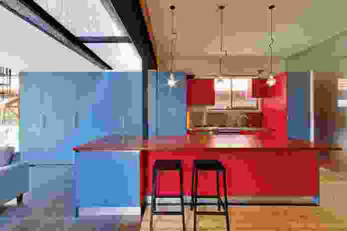 Ilma Grove (2010): bright joinery adds character to the kitchen.