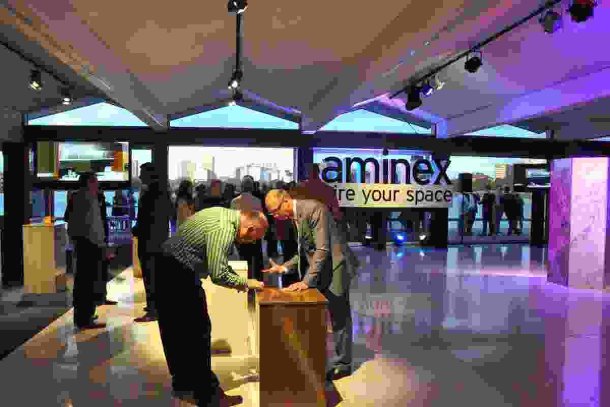 Customers, specifiers and media view the new Laminex products.