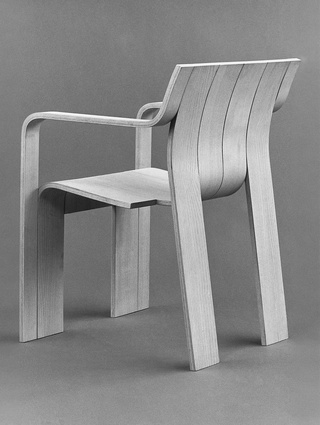 The Strip chair (1974) is made from laminated beechwood and ash veneer.