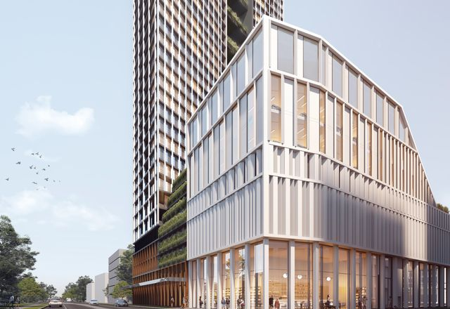 Mixed-use development at 614–632 High Street, Penrith, designed by DKO with landscape architect Turf Design Studio.