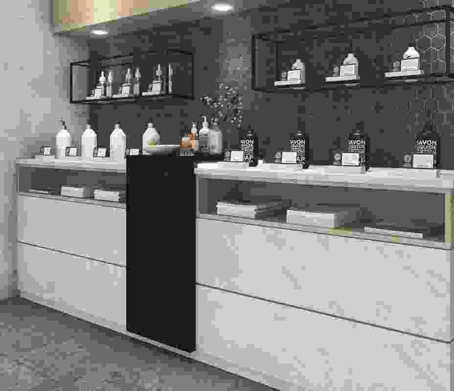 A Meganite retail counter in 'Mt Grigio' and 'Mt Carrara.'