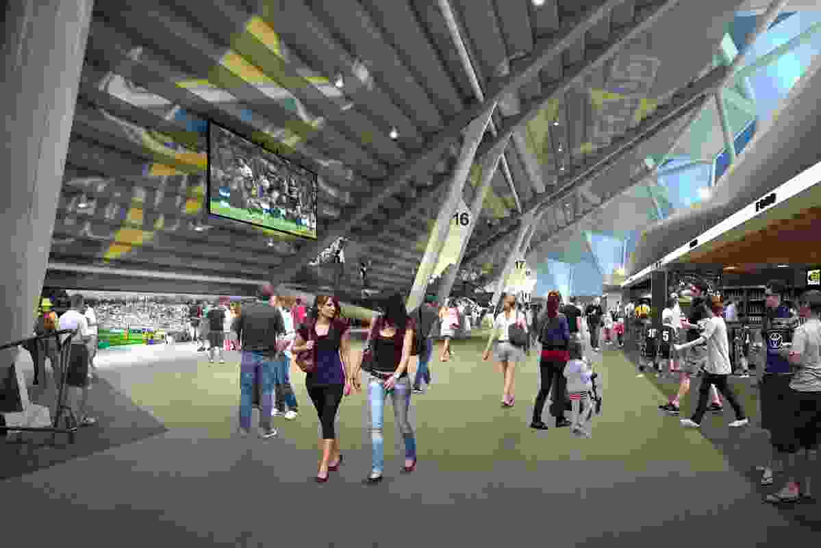 Food and beverage areas in the proposed North Queensland Stadium designed by Cox Architecture and 9Point9 Architects.