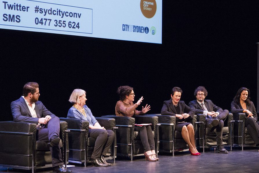Discussion panel: John O'Callaghan, Rachel Healy, Annabel Crabb, Lord Mayor Clover Moore, Ben Eltham and HeU Perkins (curatorial advisor for the Eora Journey).