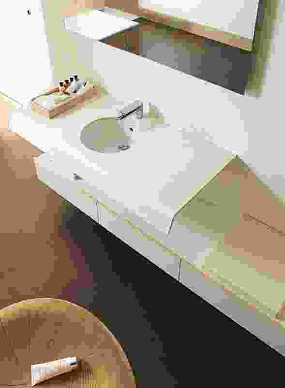 Onto washbasin.