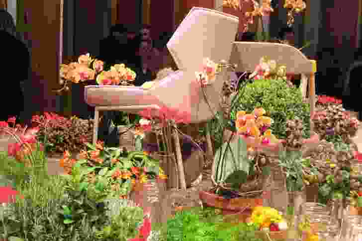 The fantasy floral centrepiece at the Moroso party.