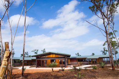 The Garma Cultural Knowledge Centre, located at Gulkula in Wiwatj (North East Arnhem Land). Architecture is used by the Indigenous clients as a medium to convey oral histories and tell their story.