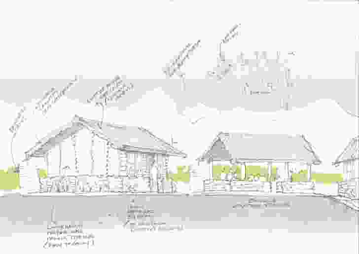 Annotated sketch of the school design.