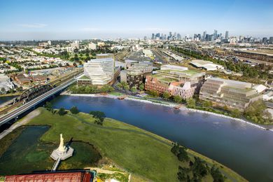 The proposed West Melbourne Waterfront development by Woods Bagot and NH Architecture, with landscape architecture by Oculus.