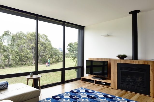 The living area enjoys an outlook over the nearby public reserve.