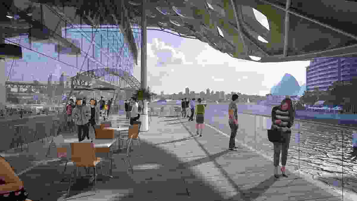 A concept design for Circular Quay wharves upgrade by Woods Bagot, featuring new retail facilities.