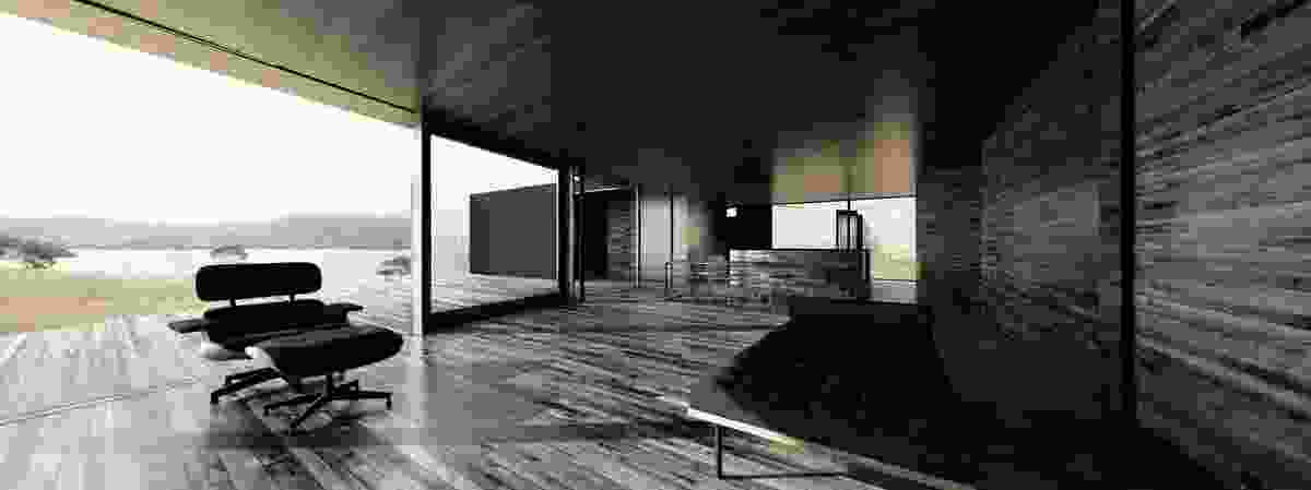 """Apollo Bay house (in progress): Render of house: the design allows the inhabitant to """"see through"""" from one space to another. Visualization: Room 11 Architects."""