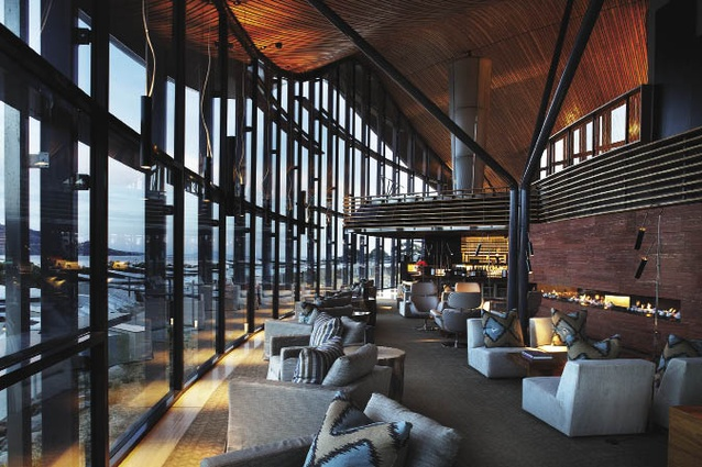 The lounge and bar of the reception building. The roof is made from curved Tasmanian timber beams built in a ribbed structure.