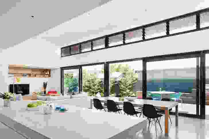 The open-plan kitchen and living spaces.