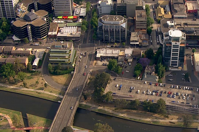 Aerial photograph of the old David Jones car park, the chosen site for the proposed new Powerhouse Museum in Parramatta.