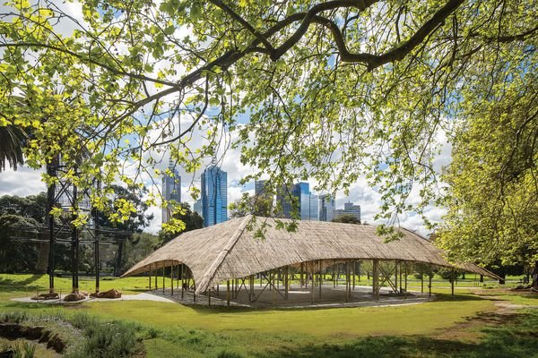 Sited on the edge of the Queen Victoria Gardens, the third iteration of the MPavilion was designed by Studio Mumbai.