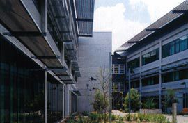 The courtyard between the acute building, on the left, and the ward building on the right.