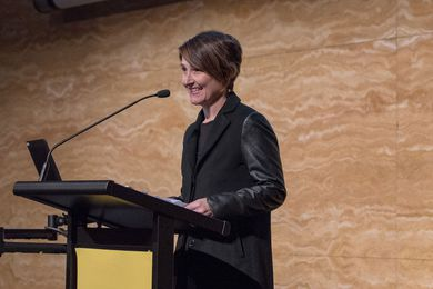 Turnbull Foundation Women in Built Environment scholarship winner Cathy Smith speaks at UNSW's Engaging Women in the Built Environment event.