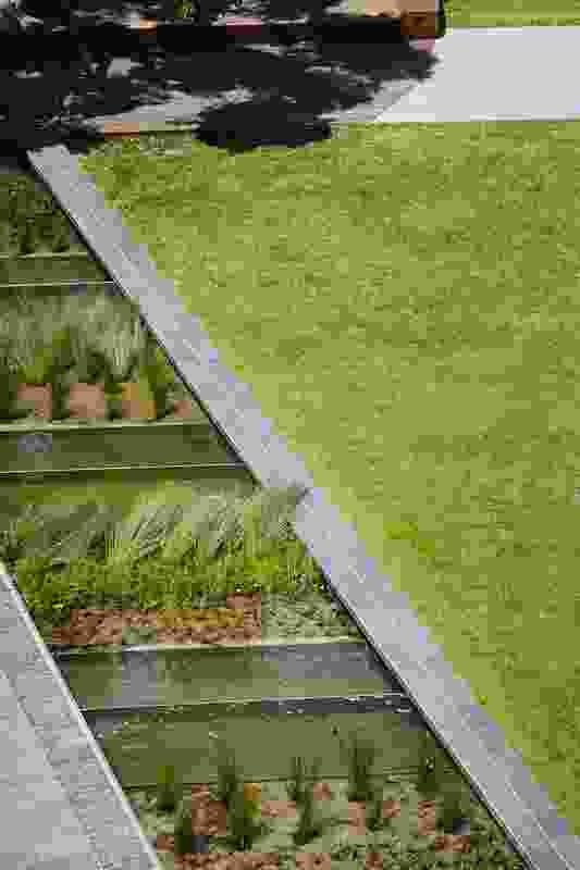 The linear waterway in the Monash University Caulfield Campus Green by Taylor Cullity Lethlean acts as a stormwater treatment and harvesting system.