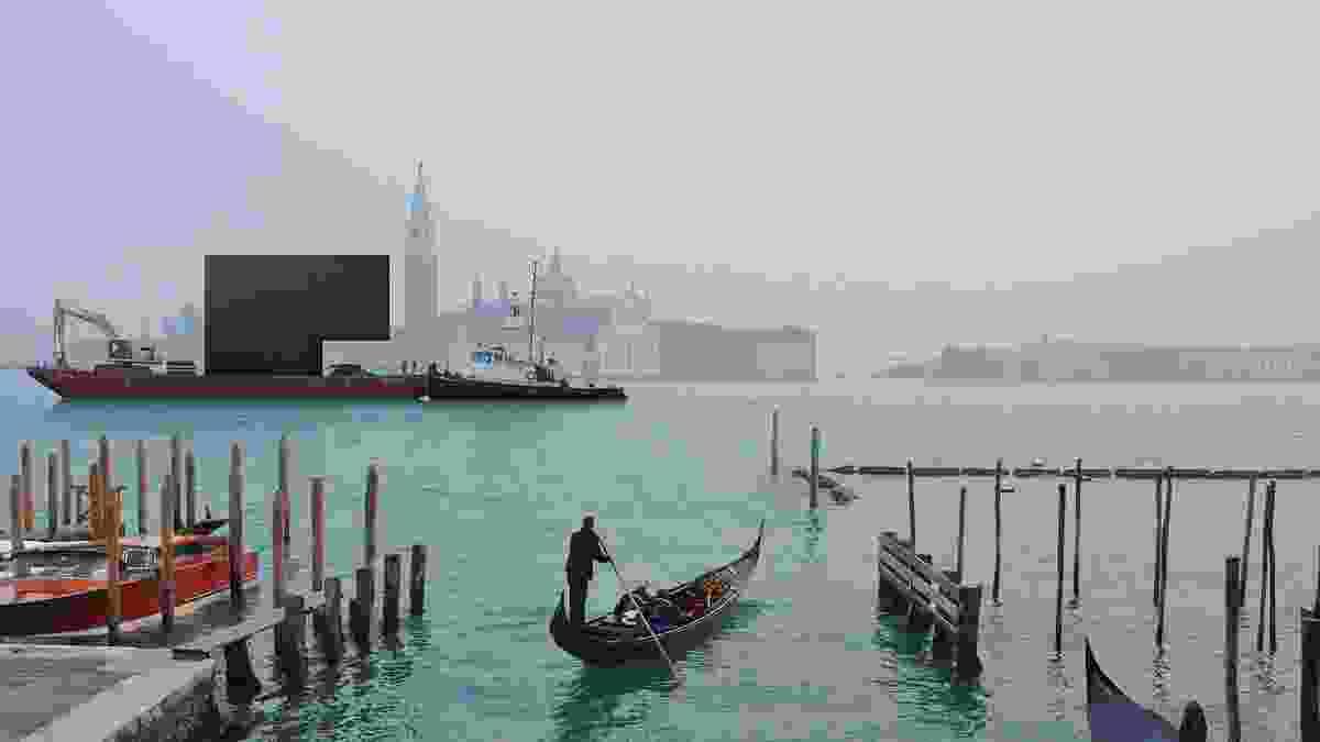 Denton Corker Marshall's proposal arrives on a barge.