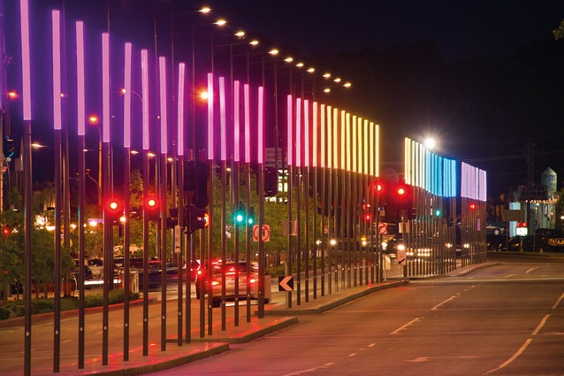 Lighting design by Electrolight provides a dynamic urban centrepiece along Lonsdale Street.