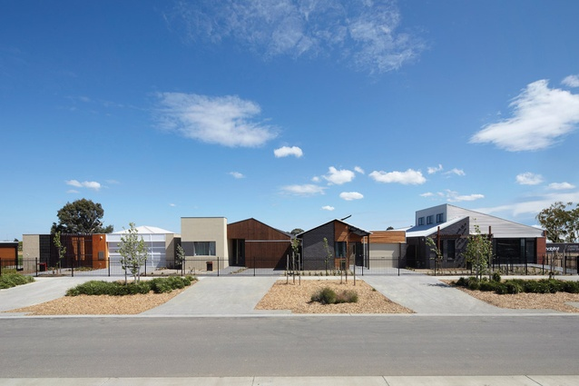 The five Habitat 21 show homes sit by side by side at the Dandenong site, as models for afforable architecturally designed housing.