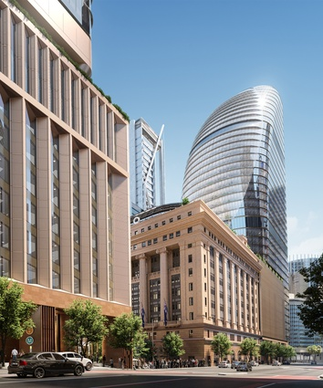 The north tower in the proposed over-station development at Martin Place designed by Grimshaw Architects, Johnson Pilton Walker and Tzannes.