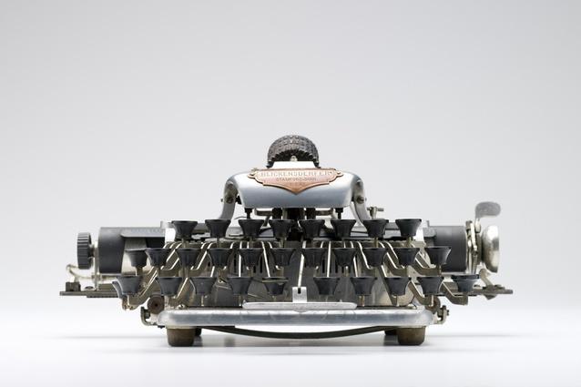 The 1906 Blickensderfer 6 portable typewriter, designed by George Blickensderfer.