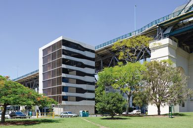 The Silt apartments, located under the south-eastern flank of Brisbane's Story Bridge.