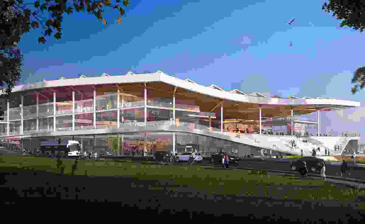 The southern view of the proposed new Sydney Fish Market by 3XN, BVN and Aspect Studios.