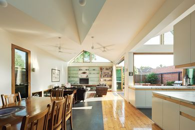 "A ""cathedral"" ceiling defines and enlivens this rear extension by Mihaly Slocombe Architects."