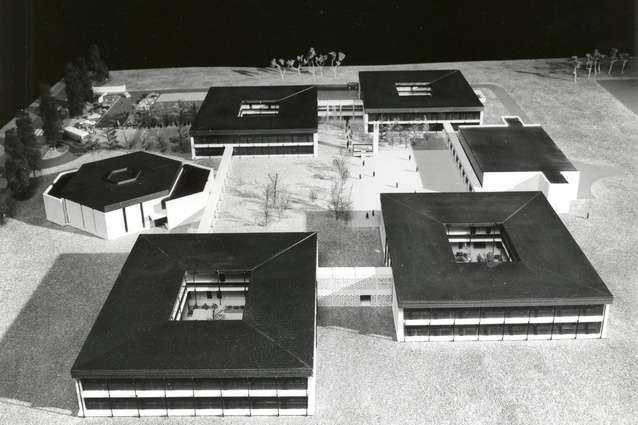 Undated photograph of a model of the doughnut schools designed by Michael Dysart,