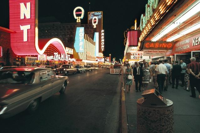 Fremont Street neon signs, 1968.