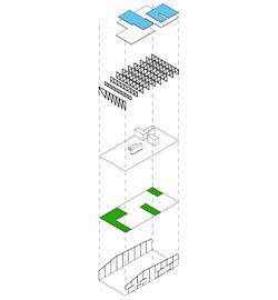 Winning entry by Kerstin Thompson Architects.  Exploded axonometric of Kerstin Thompson Architects' kit of parts. Concrete panels, courtyards, service cores, trusses and floor plates provide a series of elements that can be adapted to fit a range of site dimensions and orientations.