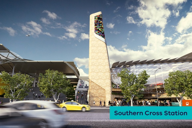 A proposed new interchange at Southern Cross Station by Cox Architecture.