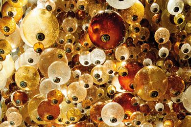 Detail of the hand-blown glass orbs.