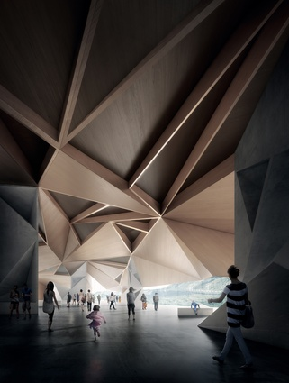 The faceted ceiling of the proposed Penguin Parade Visitor Centre is derived from a desire to create a primary timber structure.
