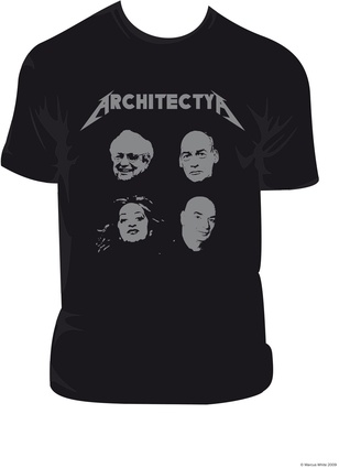 "<em>Architecture – It's not just for Wankers</em> by Marcus White. Zaha Hadid, Frank Gehry, Rem Koolhaas and Jean Nouvel as ""heavy metal rock gods."""