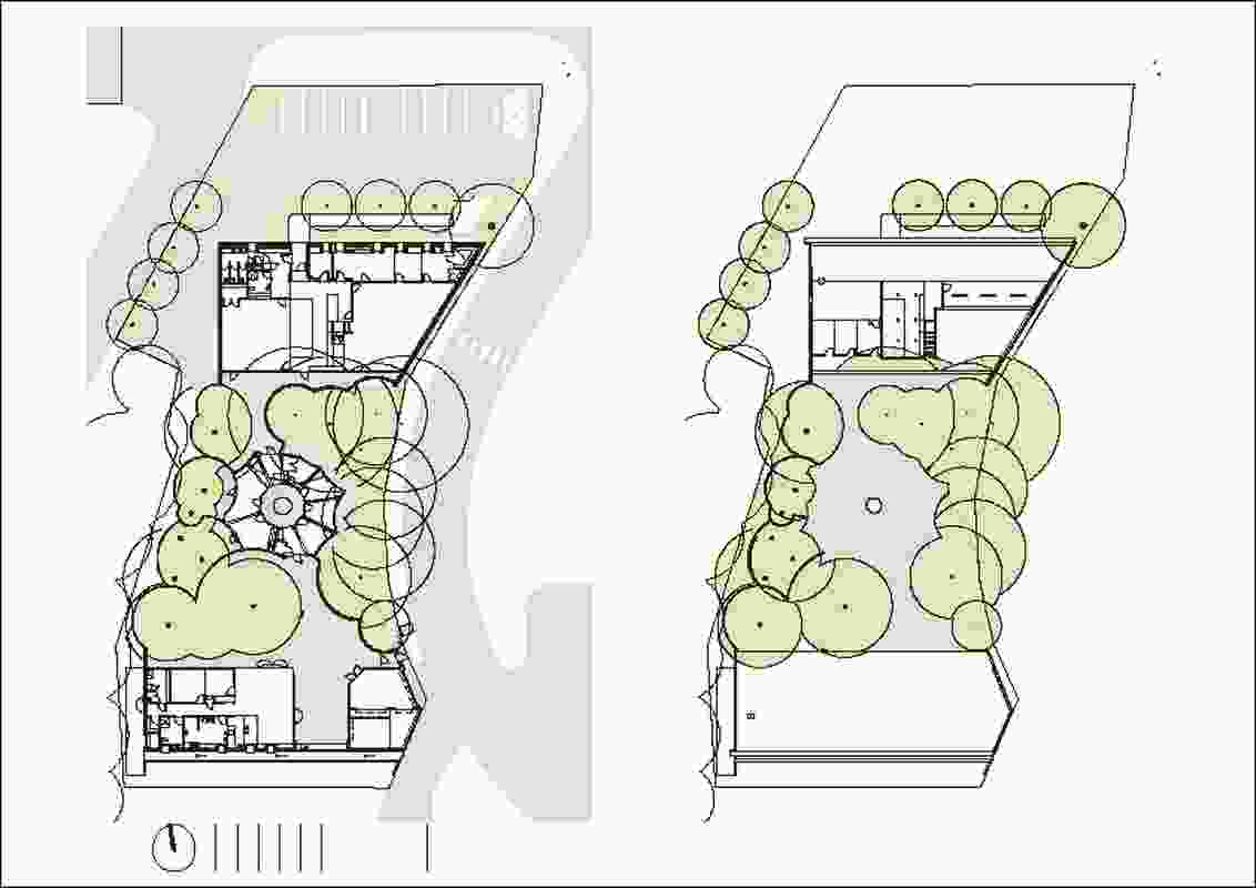 Ground floor plan (left) and first floor plan (right).