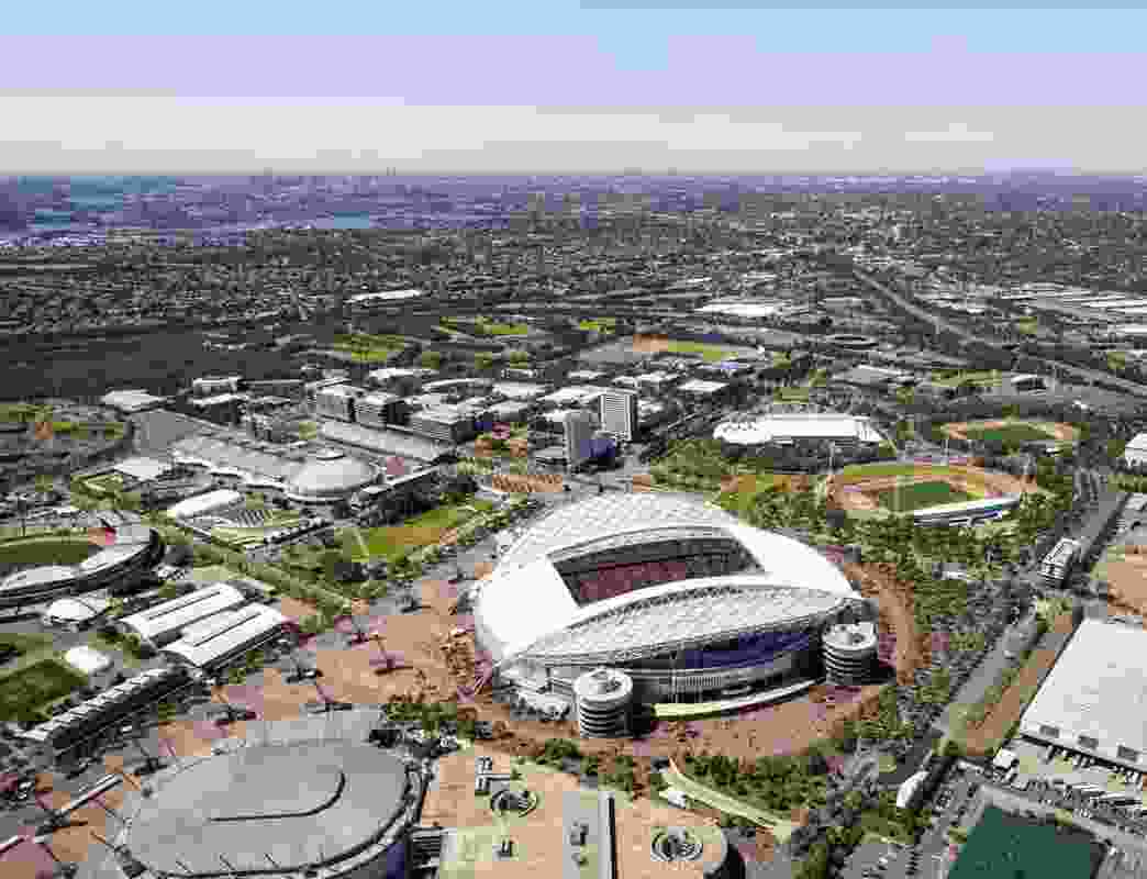 Indicative image of the redeveloped Stadium Australia by Cox Architecture, a project now dropped.