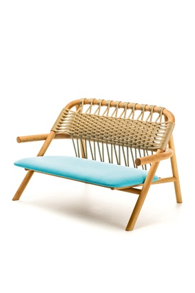 The Unam Out collection for Very Wood is a series of playful outdoor furniture in solid Iroko with woven nylon cord, available from Map Furniture.