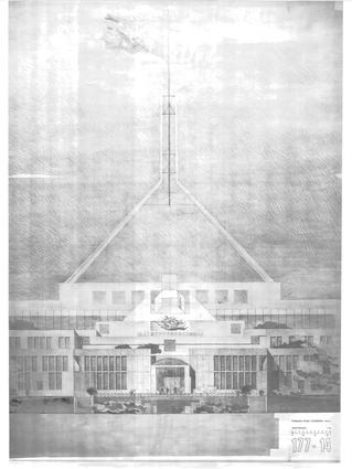 Detail elevation of Entry to House of Representatives, Stage Two Competition submission, Parliament House, Canberra, 1980. Photo on Mylar film from original pencil on vellum.